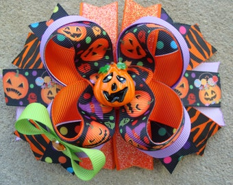 Halloween hair bow Pumpkin Hair Bow Halloween hair bow large hair bow Stacked Boutique Hair Orange hair bow holiday hairbow hair clip