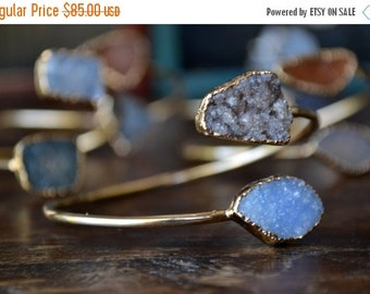 VALENTINES SALE Lux Divine Druzy Wrap Gemstone Bracelet /// Gold
