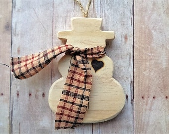 Wood Snowman Ornament Rustic Farmhouse Christmas Winter Home Decor Wood Burned Heart Love