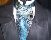 Cravat, In A Blues With a Silver  and Lt. green Paisley Brocade Floral Pattern Fabric or Ascot Mens Victorian Tie