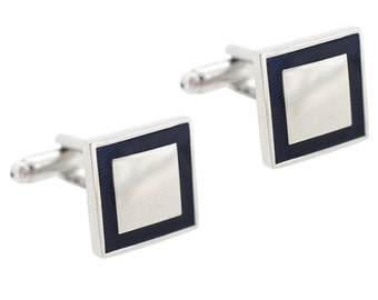 Silver and Blue Double Square Cufflinks 1200243