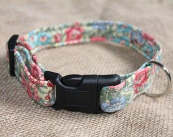 MEDIUM LARGE 13-16 inch Floral Print Dog Collar