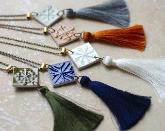 StayGoldMaryRose - Vintage olive green glaze 'Totem Tassel' pendant with silk thread tassel and antique brass chain.