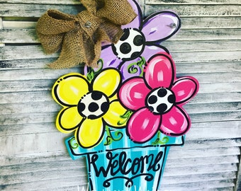 Flower Pot with 3 flowers Wood Cut Out Door Hanger