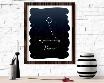 Pisces Zodiac Constellation Wall Art Printable 8x10 - Instant Download Birthday Horoscope Astrology Stars Night Sky Poster Home Room Decor