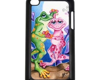First Dance Pink and Green Frogs Apple iPod Touch 4th Generation Hard Case Original Animal Art (Choose Case Color)