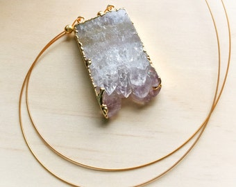 Amethyst Crystal and Gold Necklace