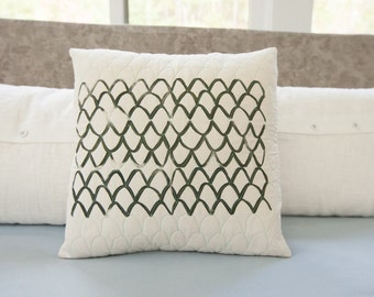 Modern midcentury-style toss pillow 17x17 handprinted and hand quilted, black and white decor, modern decor, neutral decor, throw pillow