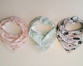 Baby Bandana Bib - Baby Bib - Baby Bib Gift Set - Toddler Drool Bib - Girl Bandana Bib - Tribal Baby - Baby Shower Gift - Mint Pink Gold Bib
