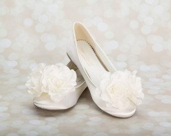 Wedding Flats - Ballet Wedding Flats - Wedding Shoes - Flower Embellished Wedding Shoes - Wedding Slippers - Bespoke Wedding Flats - Shoes