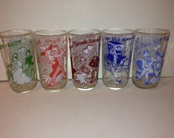 Set of 5 Vintage Music Notes Glasses