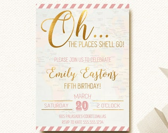 Travel Party Map Invitation Vintage Places She'll Go Birthday