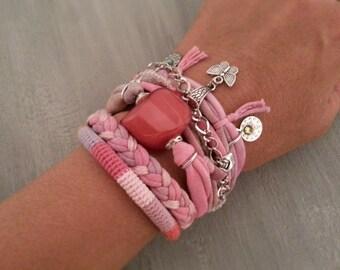 Boho Gypsy Bracelet Pink Salmon, Multilayer Bracelet Bohemian Style, Festival Jewelry, Gift for Her, Hippie Bracelet Butterfly Charm