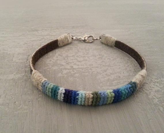 8 in Mens Crochet Leather Bracelet, Linen Leather Bracelet For Men, Blue Shades Bracelet, Cord Men Bracelet, Gift For Man