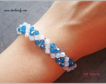 Beaded Bracelet PDF Tutorial - Blue Flower White Opal Bracelet (BB164) - Beading Jewelry PDF Tutorial (Instant Download)