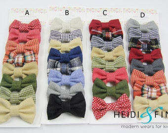 SALE Winter flannel Hairbow SET of 8 Hairclip wool flannel plaid hairband