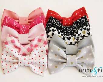 SALE Valentine Heart Hairbow SET of 10 Hairclip cotton pink red white grey black gold