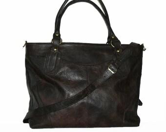 Deep brown Leather Tote Crossbody Bag, Leather Messenger, Leather Tote Bag, Laptop Bag, Travel  Bag Weekender, Leather Handbag -Nora XL!