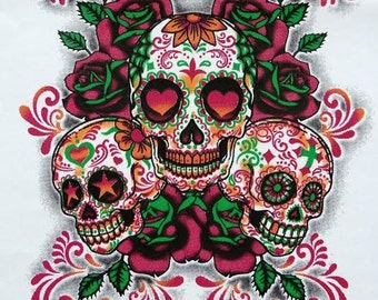 Womans SHORT SLEEVE T Shirt Day of the Dead Three Sugar Skulls  Free Shipping 17606
