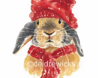 Rabbit Watercolor PRINT - 5x7 Illustration Print, Winter, Rabbit in Hat, Nursery Art, Bunny Painting