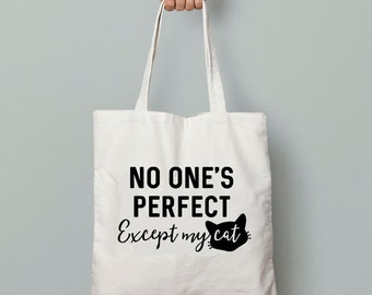 SALE - Cat Tote Bag - Funny Cat Saying, Cat Lady, Natural Cotton, Shopping Bag, Canvas Shopper