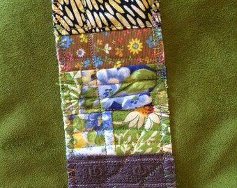 Unique Quilted Bookmark 1970's inspired