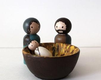 Peg Doll Nativity - Wooden Nativity Holy Family Set - Waldorf Nativity - MAKE TO ORDER