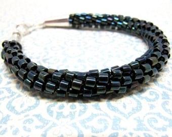 Black Kumihimo Bracelet, Blue, Purple, Green, Black and Silver Beaded Bracelet