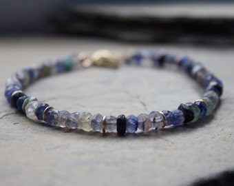 Blue labradorite and tourmaline gemstone bracelet, labradorite gemstone stacking bracelet, tourmaline gemstone bracelet, stacking bracelet