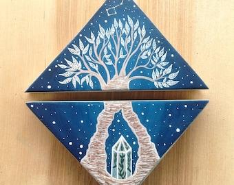 Original dyptic Painting on wood, bonsai & Big Dipper
