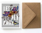 Butterfly Valentine's Day Card - Let's Fly Away Stationery - Vintage Butterflies Single Card with Kraft A2 Envelope.  Blank Card - S08