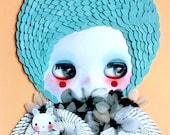 Allergy N.1. Original OOAK paper cutting artwork. Mixed media Collage. Blythe illustration. Dolls Artwork