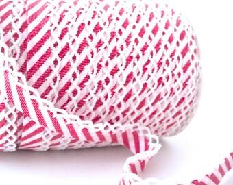 Red candy stripe crochet picot edged bias tape Zakka
