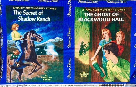 "Get a Clue Nancy Drew Book Covers blue moda fabric 23"" panel OOP HTF"