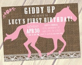 Country Birthday Invitation, PRINTABLE Cowgirl Birthday Invitation, Horse Birthday Invitation, Pink Burlap Lace 5x7