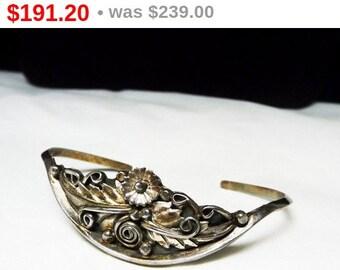 C. Yazzie Squash Blossom Cuff Bracelet - Vintage Southwestern Design - Native American Indian Silversmith Signed