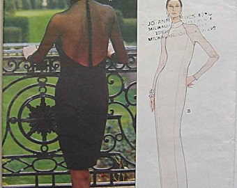 RARE Vintage 90's Vera Wang Misses' Dress in 2 Lengths, Elegant Evening Gown, Vogue 1908 Sewing Pattern, UNCUT Sizes 14-16-18