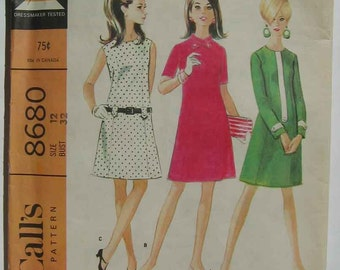 Vintage 60's Misses' Dress in 3 Versions, McCall's 8680 Pattern Size 12