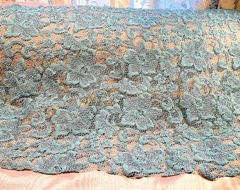 Vintage Lace Fabric Trim Powder Blue Craft Supply 1960s Dress