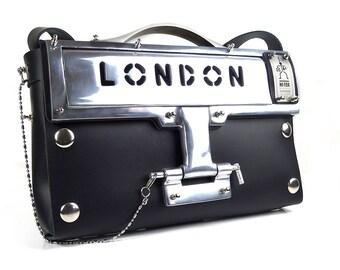 black leather shoulder bag heavy industrial aluminium components London Letterbox Bag Goth Steampunk retro wearable art Hi Tek
