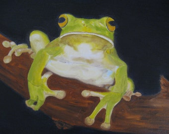 Frog Painting Green Frog Art Frog Oil Painting Frog On Canvas Nature Art  Whimsical Frog Art