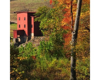 "Fine Art Color Photography of Old Red Mill in the Missouri Ozarks - ""Dillard Mill and Fall Foliage"""