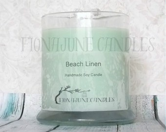 Beach Linen Scented Soy Wax Status Jar Candle, Double Wick Soy Candle, Aquamarine Soy Candle, Status Jar Candle, Light Blue Jar Candle