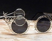STEAMPUNK GOTH GLASSES - Silver-Look Criss Cross Metal Mesh Framed w/Removable Jewelers Magnifying Eye Loupes