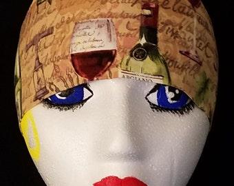Wine Skull, Chemo Cap, Hat, Do Rag, Surgical Cap, Alopecia, Helmet Liner, Motorcycle, Chefs Hat, Hair Loss, Bald, Winery, Vineyard, Handmade