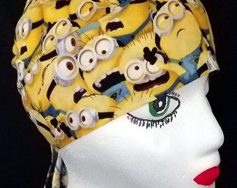 Handmade Minion Skull Cap or Chemo Cap, Children, Hair Loss, Bald, Alopicha, Head Wrap, Handmade, Hats, Helmet Liner,Surgical Cap,Motorcycle