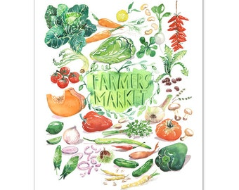 Farmers market, Seasonal vegetable print, Kitchen art, Watercolor veggie, Food art, Garden painting, Botanical print, Colorful kitchen decor