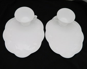 Indiana Glass Milk Glass Harvest Grape Snack Plates and Cups Patio Set - Set of Two