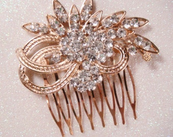 Gold rhinestone hair comb / wedding hair comb bridal hair clip / gold wedding gold bridal fascinator / vintage wedding
