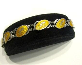 "Vintage Rare Siamese Niello Yellow Enamel Dancer Signed Bracelet 7 1/4"" Link Bracelet Booklet Siam Jewels Ltd"